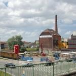 Grondwerken voor nieuw kantoorgebouw aan zwaaikom Dampoort