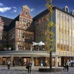 Ketting van goudkleurige ramen vormt eerste nieuwe kunstwerk op Korenmarkt