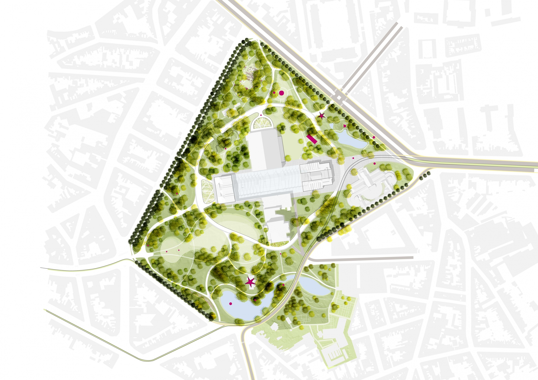 De nieuwe structuur van het Citadelpark op kaart.