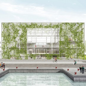 "Green ""room"" by XDGA will attract attention to a new public building at the Oude Dokken site"