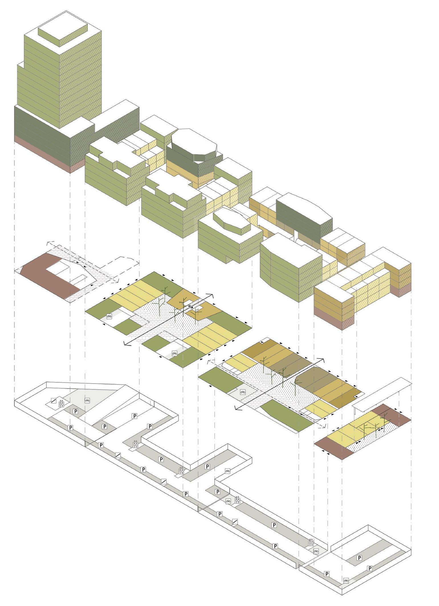 Lichtgroen: marktconforme woningen. Donkergroen: budgetwoningen. Geeltinten: rij- en hoekwoningen. Rood: commerciële ruimtes.
